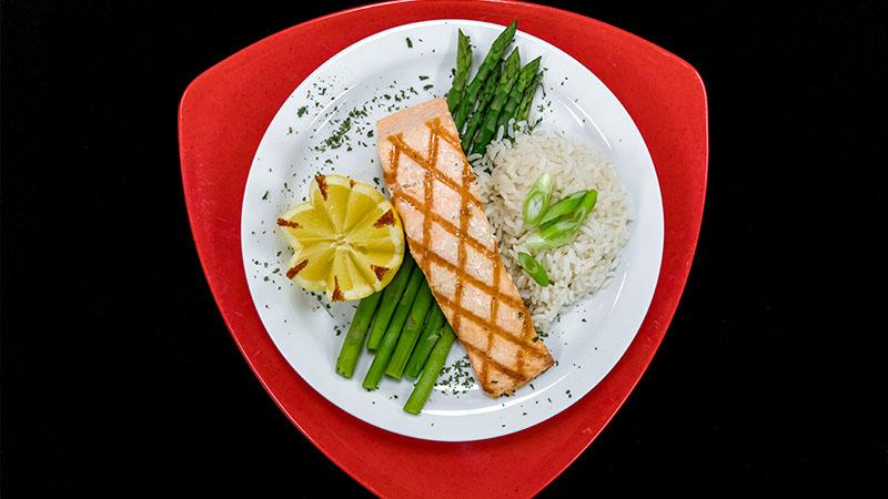 salmon, asparagus and rice dinner