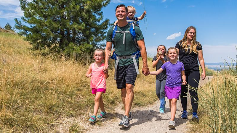 Dr. Dickson on the trails with his family